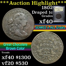 1802 Draped Bust Large Cent 1c Graded xf By USCG