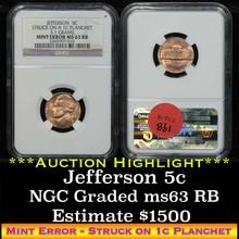 NGC Mint Error Jefferson Nickel 5c Graded ms63 RB