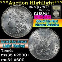 1878-p 7/8tf Morgan Dollar $1 Graded Choice+ Unc