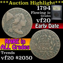 1794 Flowing Hair large cent 1c Graded vf