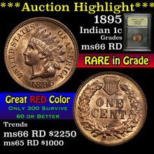 1895 Indian Cent 1c Graded GEM+ Unc RD By USCG (fc