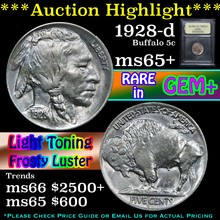 1928-d Buffalo Nickel 5c Graded GEM+ Unc By USCG
