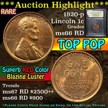 1920-p Lincoln Cent 1c Graded GEM+ Unc RD By USCG