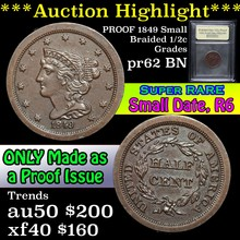 Proof 1849 Small Date,  R-6 Braided Hair Half Cent