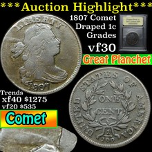 1807 Comet Draped Bust Large Cent 1c Graded vf++