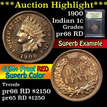 1900 Indian Cent 1c Graded Gem+ Proof Red By USCG