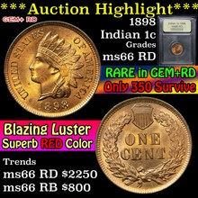 1898 Indian Cent 1c Graded GEM+ Unc RD By USCG