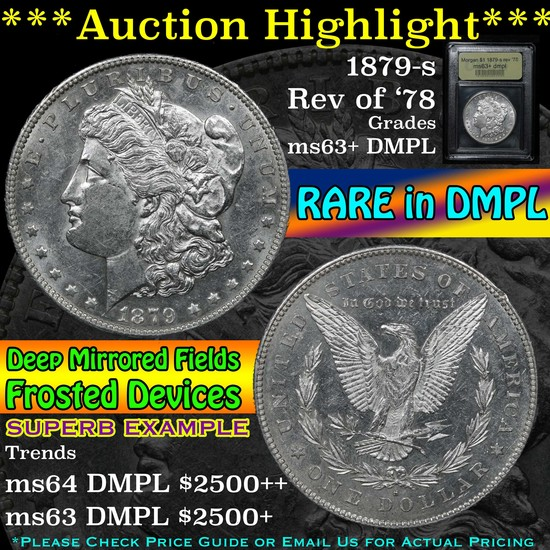 ***Auction Highlight*** 1879-s rev '78 Morgan Dollar $1 Graded Select Unc+ DMPL By USCG (fc)