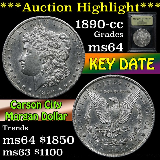 ***Auction Highlight*** 1890-cc Morgan Dollar $1 Graded Choice Unc By USCG (fc)