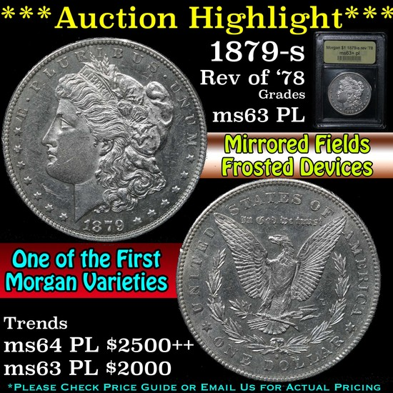 ***Auction Highlight*** 1879-s rev '78 Morgan Dollar $1 Graded Select Unc+ PL By USCG (fc)