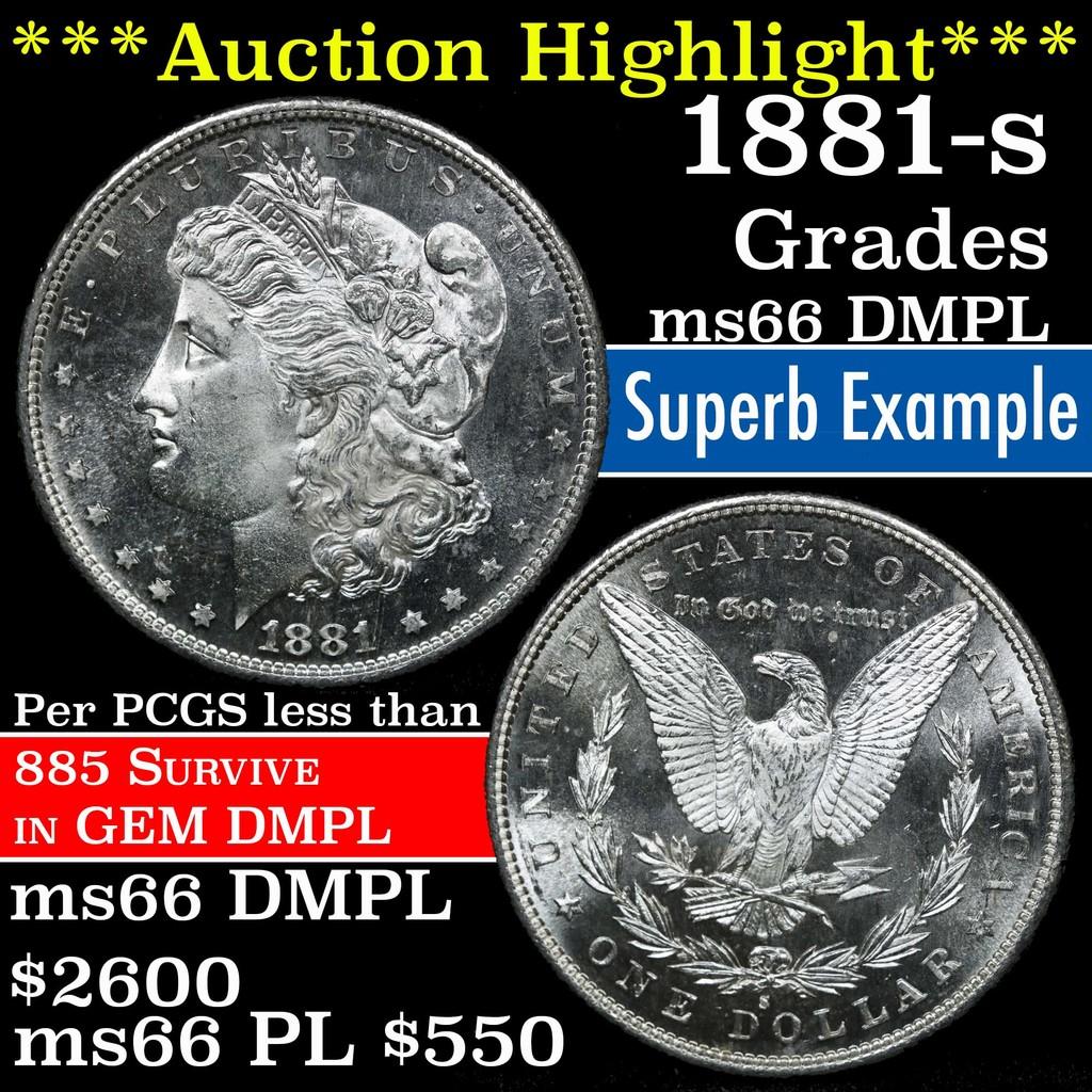 ***Auction Highlight*** 1881-s Morgan Dollar $1 Grades GEM+ UNC DMPL (fc)