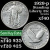 1929-p Standing Liberty Quarter 25c Grades xf