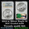 NGC 2012-w Silver Eagle Dollar $1 Graded ms69 By NGC