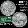 1917-p Buffalo Nickel 5c Grades Choice AU/BU Slider
