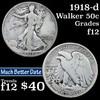 1918-d Walking Liberty Half Dollar 50c Grades f, fine