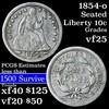 1854-o Seated Liberty Dime 10c Grades vf+