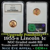 NGC 1955-s Lincoln Cent 1c Graded ms66 rd By NGC