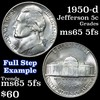 1950-d Jefferson Nickel 5c Grades GEM 5fs
