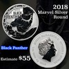 2018 Black Panther Marvel Silver Round 1 Oz. .999 fine