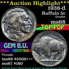 1938-d Buffalo Nickel 5c Grades GEM+++ Unc (fc)
