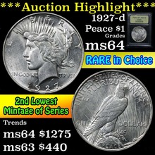 1927-d Peace Dollar $1 Grades Choice Unc