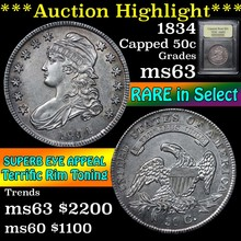 1834 Capped Bust Half Dollar 50c Graded Select Unc