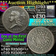 1793 100° CCW rotation Liberty Cap 1/2c Grade vf++