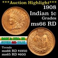 1908 Indian Cent 1c Grades GEM+ Unc RD (fc)