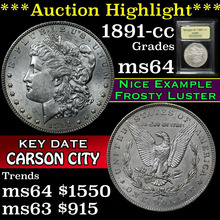 1891-cc Morgan Dollar $1 Graded Choice Unc by USCG