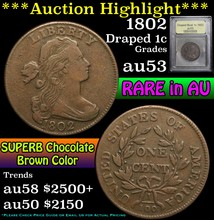 1802 Draped Bust Large Cent 1c Graded Select AU