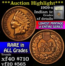 1909-s Indian Cent 1c Graded xf details by USCG