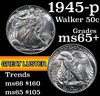 1945-p Walking Liberty Half Dollar 50c Grades GEM+ Unc