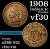 1906 Indian Cent 1c Grades vf++