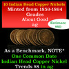 10 assorted copper nickel Indian cents 1859-1864 1c Grades ag