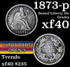 1873-p Open 3 Seated Liberty Dime 10c Grades xf