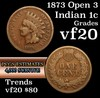1873 open 3 Indian Cent 1c Grades vf, very fine