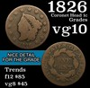 1826 Coronet Head Large Cent 1c Grades vg+
