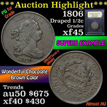 1806 Draped Bust Half Cent 1/2c Graded xf+ by USCG
