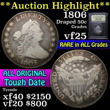 1806 Draped Bust Half Dollar 50c Graded vf+ USCG