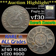 1787 Fugio Colonial Cent 1c Graded vf++ by USCG
