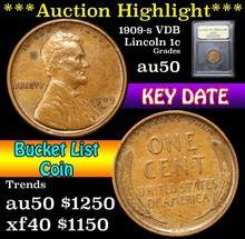 1909-s vdb Lincoln Cent 1c Graded AU, Almost Unc