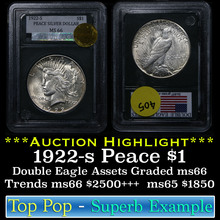 1922-s Peace Dollar $1 Graded ms66 by Double Eagle