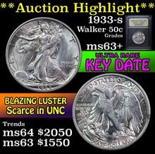 1933-s Walking Liberty Half Dollar 50c Select+ Unc