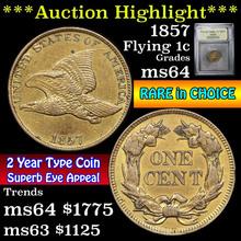 1857 Flying Eagle Cent 1c Graded Choice Unc USCG