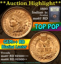 1893 Indian Cent 1c Graded GEM++ Unc RD by USCG