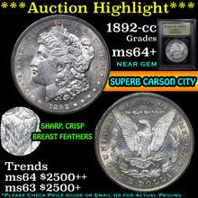 1892-cc Morgan Dollar $1 Graded Choice+ Unc USCG