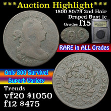1800 80/79 2nd Hair Draped Bust Large Cent 1c  f+