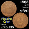 1865 Two Cent Piece 2c Grades vf, very fine