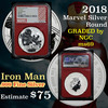 NGC 2018 Iron Man Marvel Silver Round .999 Fine Silver 1 oz. Graded ms69 by NGC