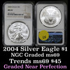 NGC 2004 Silver Eagle Dollar $1 Graded ms69 by NGC